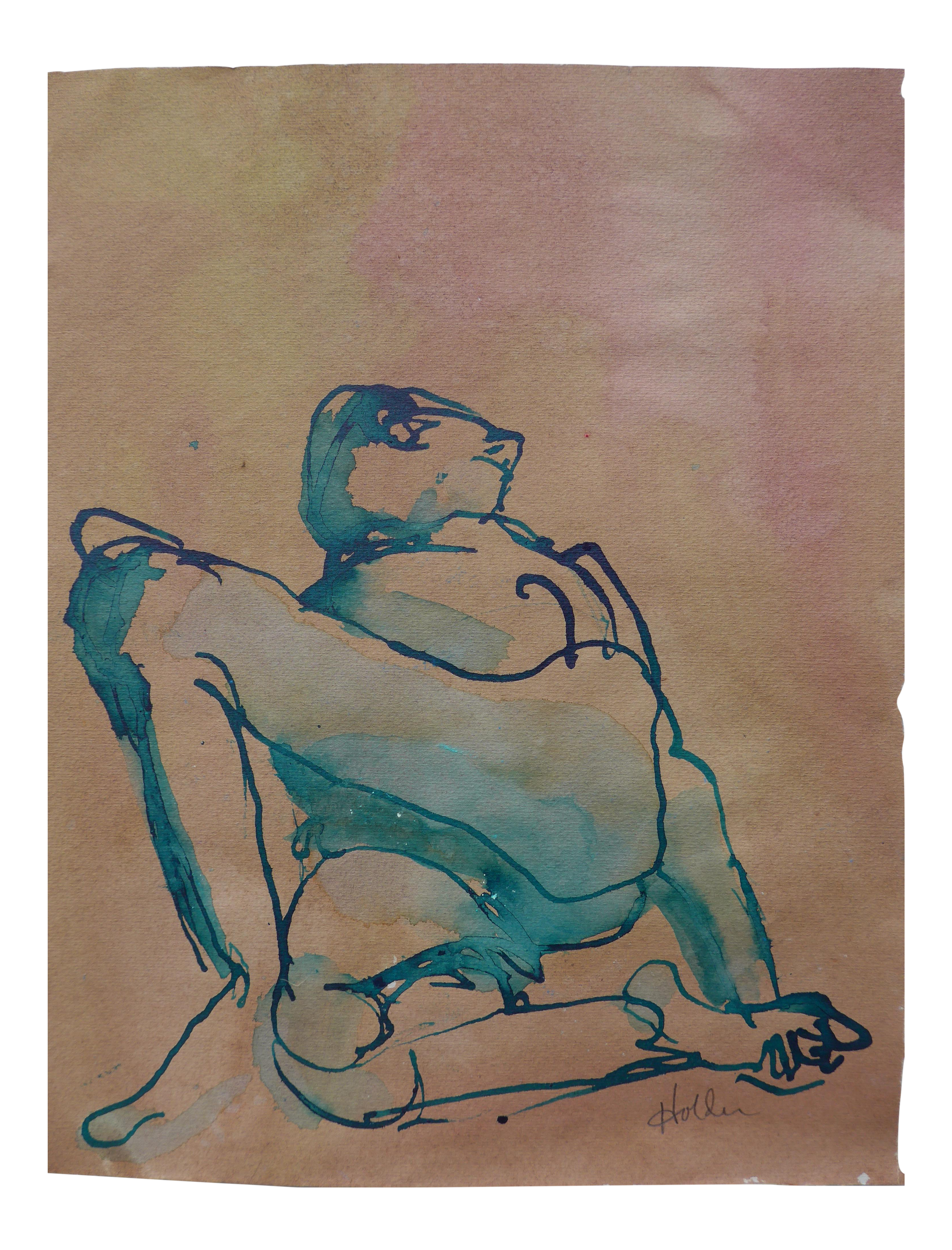 Impressionistic drawing loose. Reclining male ink charcoal