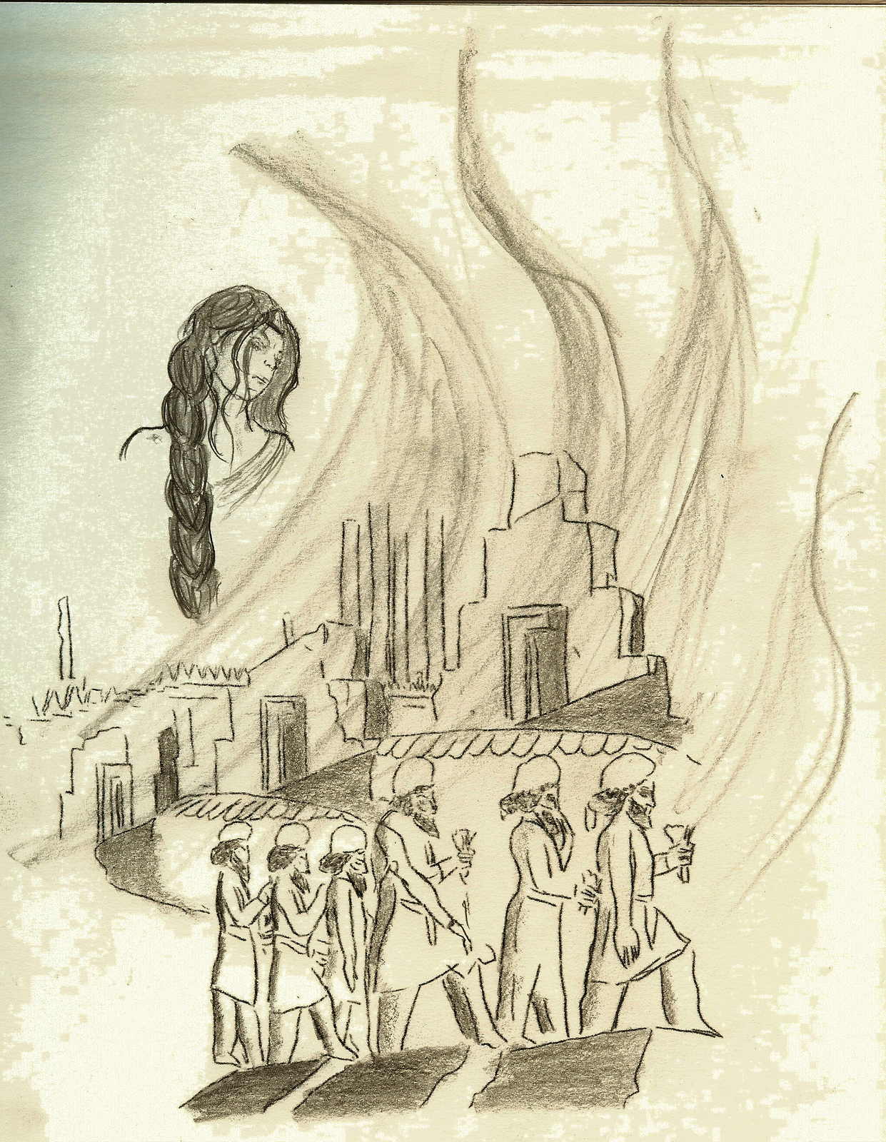 Athens drawing historical. A mind lively and
