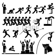Athlete clipart athletics event. Track and field silhouettes