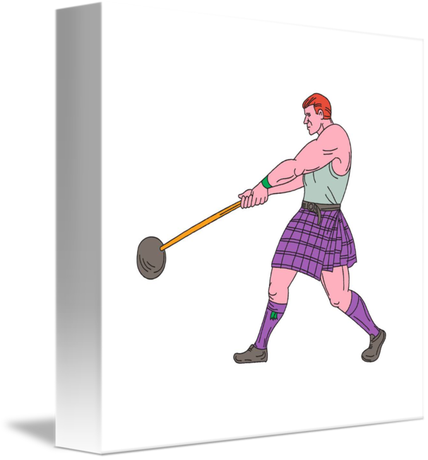 Athlete drawing. Weight throw highland games