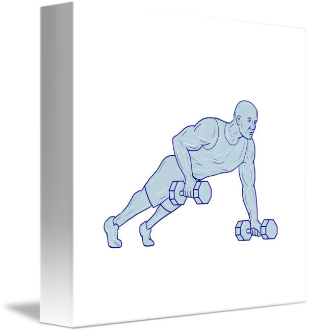 Athlete drawing. Fitness push up one