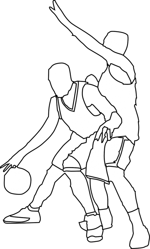 Athlete vector bar. Basketball players defence offense