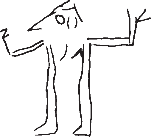 Athlete drawing figure. A demon of the