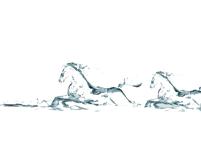 Athlete drawing figure. Water horse brush two
