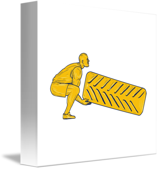 Athlete drawing fitness. Squatting lifting tire by
