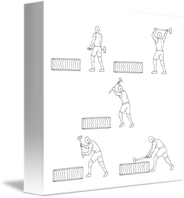 Athlete drawing fitness. Hammer workout collection set