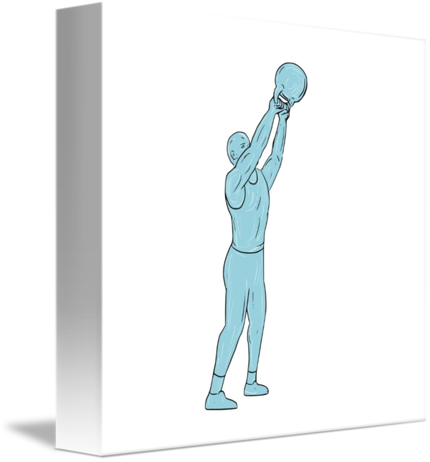Athlete drawing fitness. Kettlebell swing by aloysius