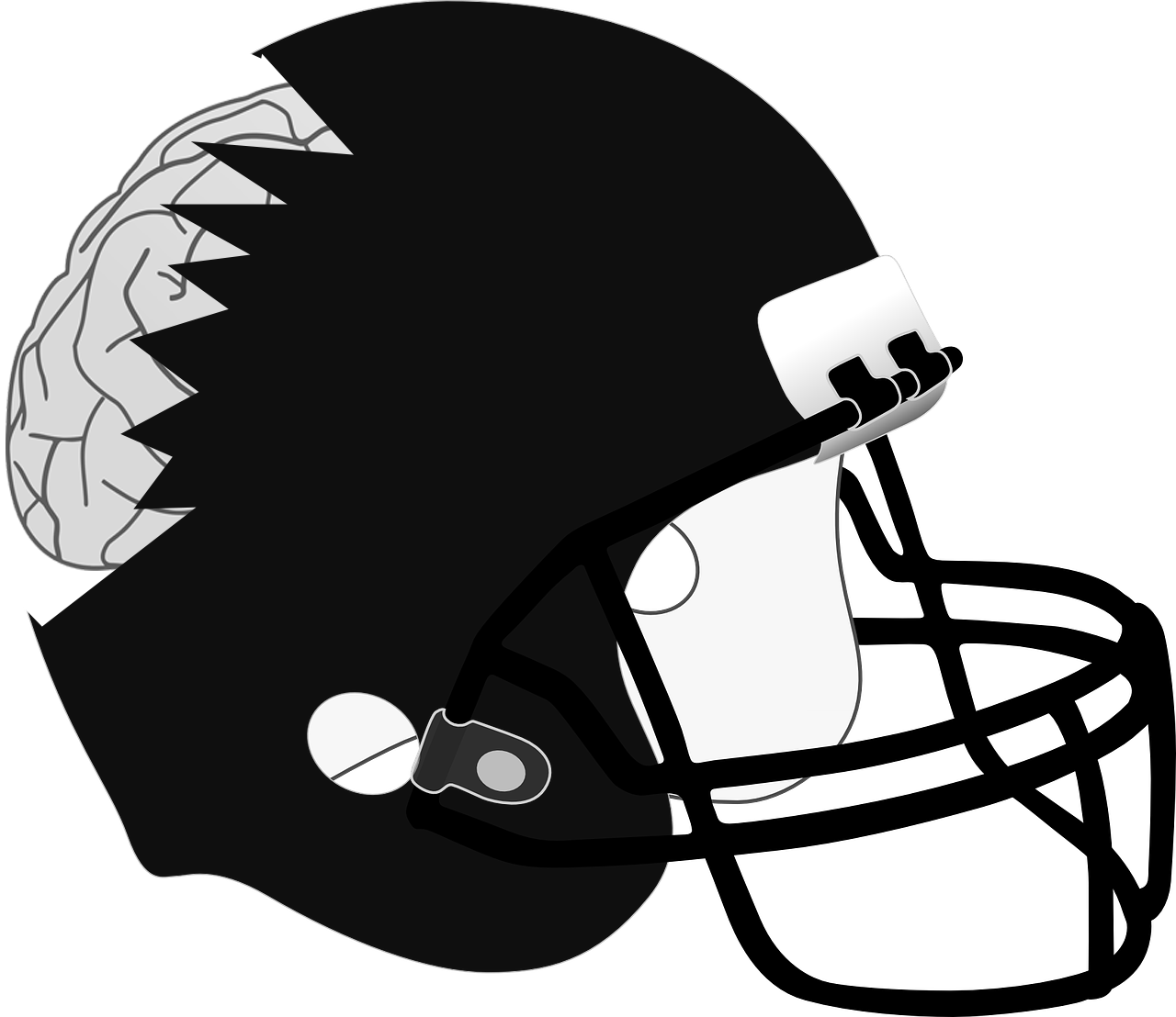 Athlete drawing helmet. Even after crackdown concussions