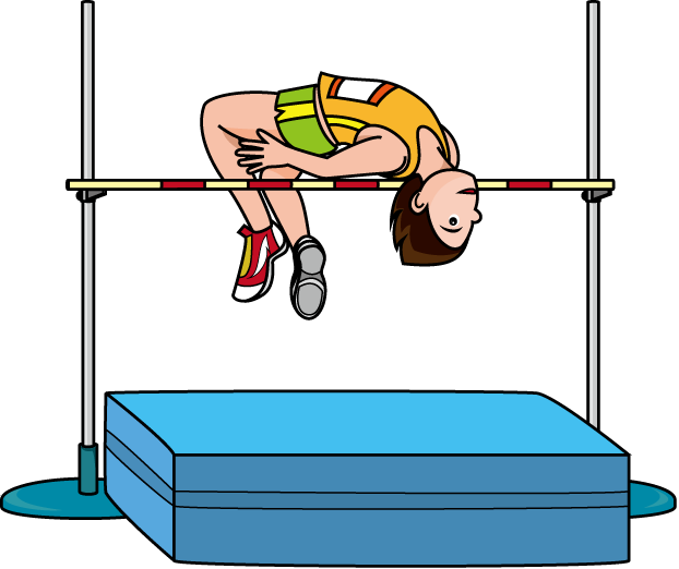 Athlete drawing high jump. Collection of scissors