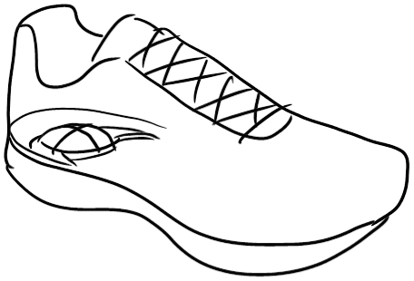 Athlete drawing outline. Athletic shoes jf