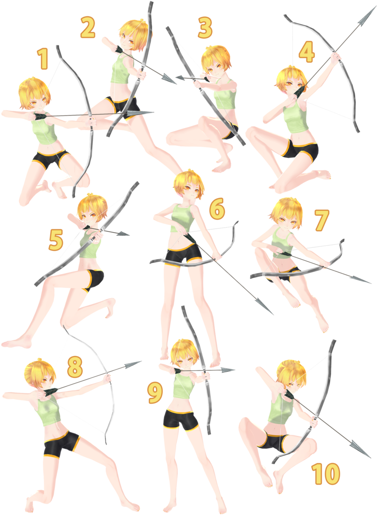 Drawing blush reference. Mmd archery pose pack