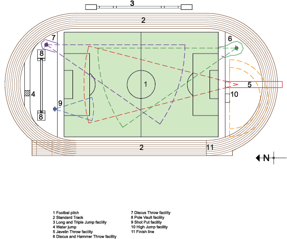 Athlete drawing track and field. Athletics events standardcompetitionathleticstrack