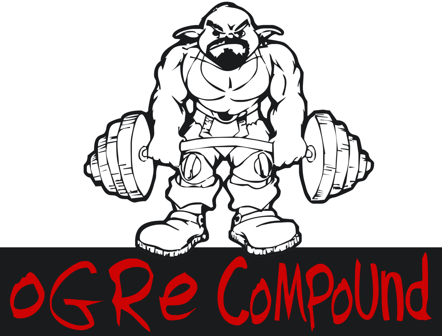 Weightlifter drawing strength training. The ogre compound