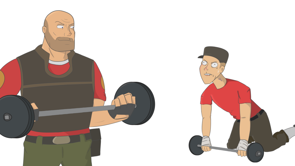 Athlete drawing weightlifter. Heavy lifting by after