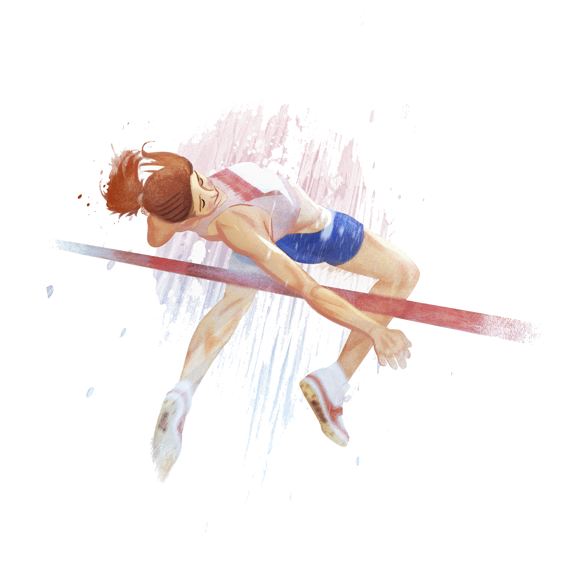 Jumping drawing. High jump athlete a