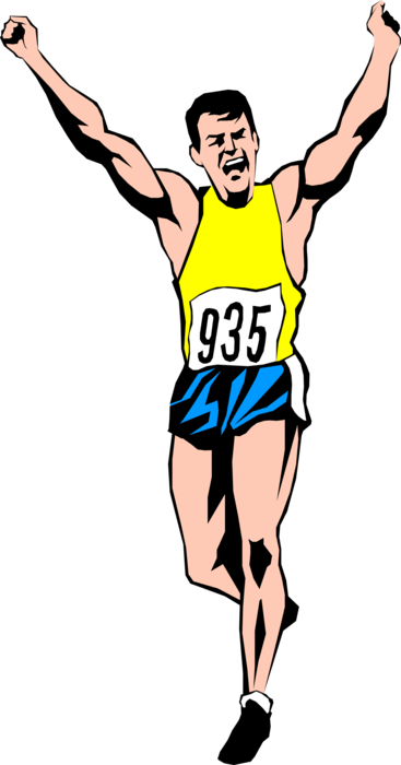 Athlete vector clipart. Track meet runner wins royalty free download