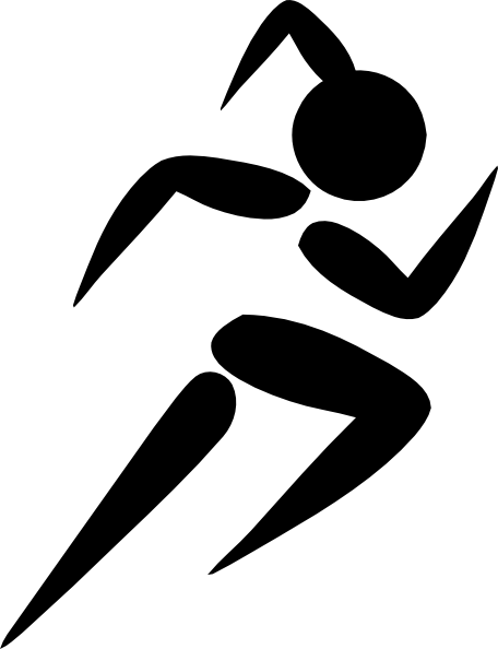 Athlete vector mashal. Girl runner silhouette at