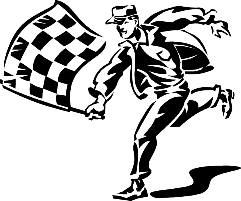 Athlete vector racing. Motor race official with