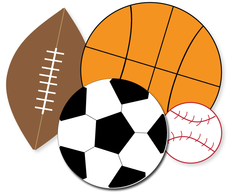 Free sports for parties. Balls clipart banner transparent stock