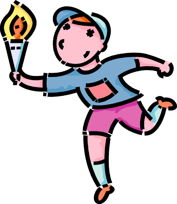 Athletic clipart torch. Boy runs with olympic