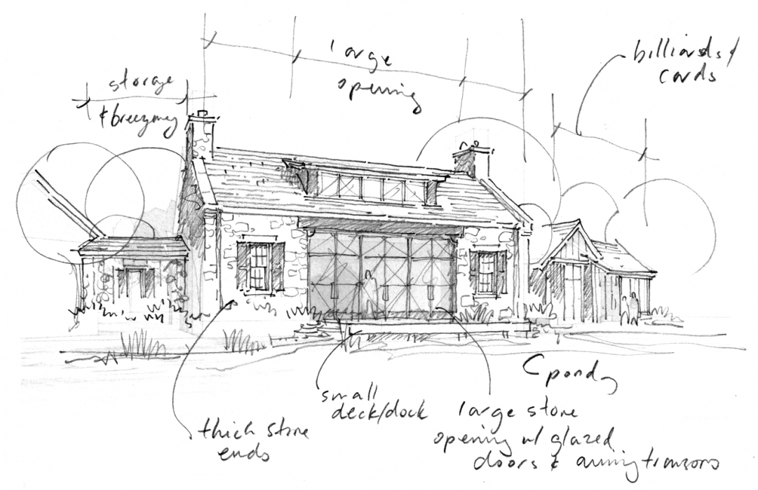 Prespective drawing outdoor. Historical concepts country house