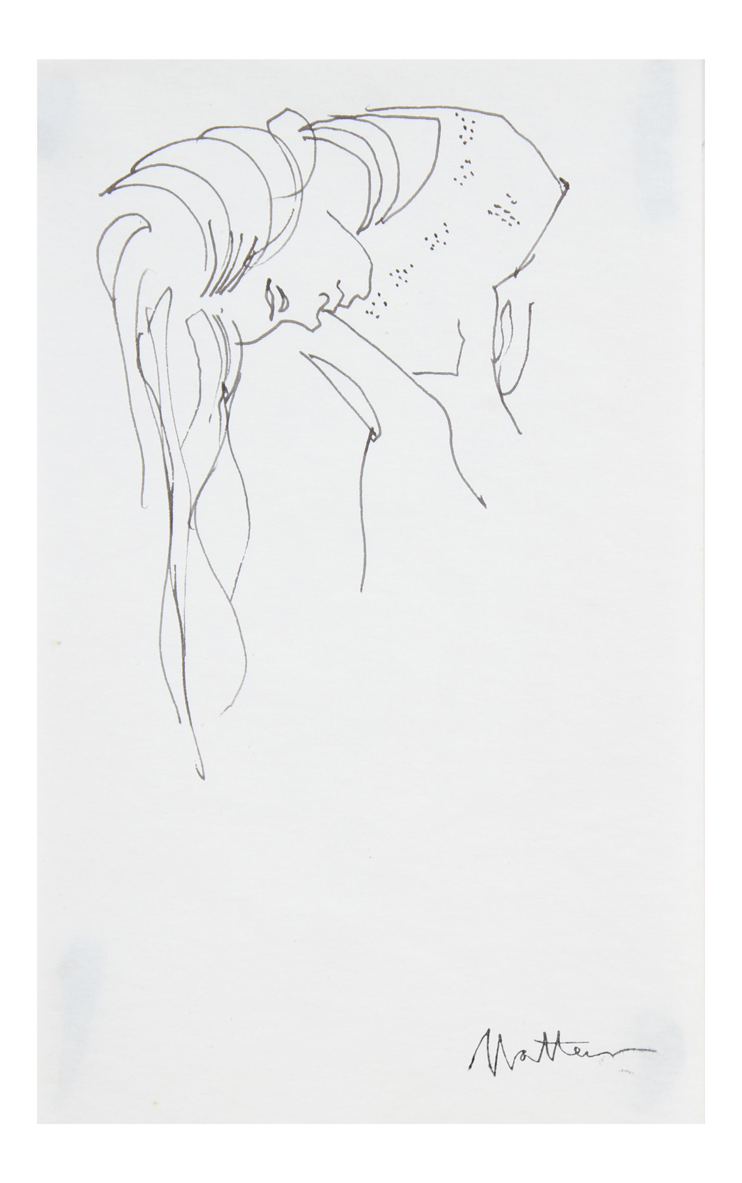 American drawing 20th century. Late th woman with