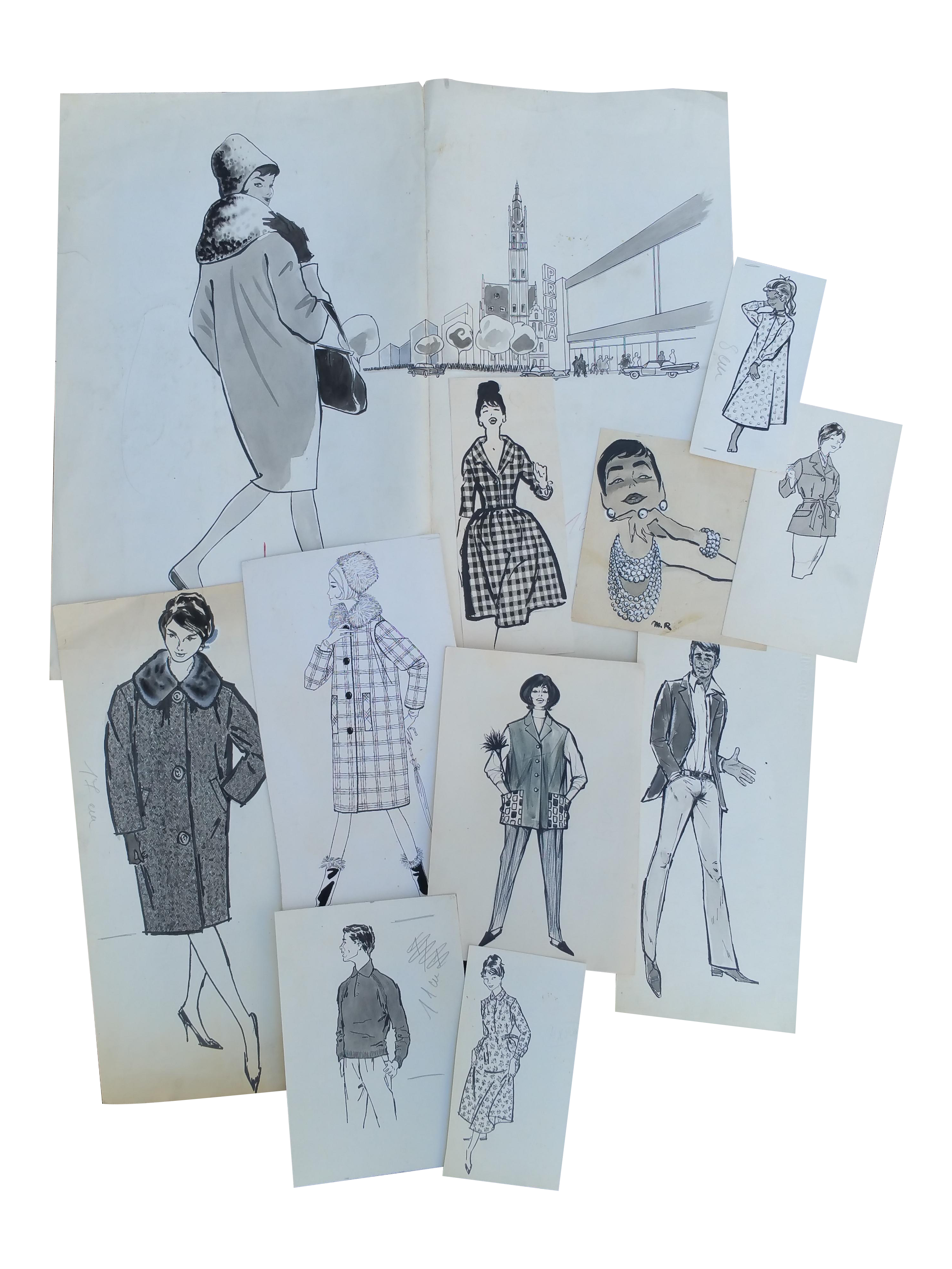French drawing ink. Original fashion art sketches
