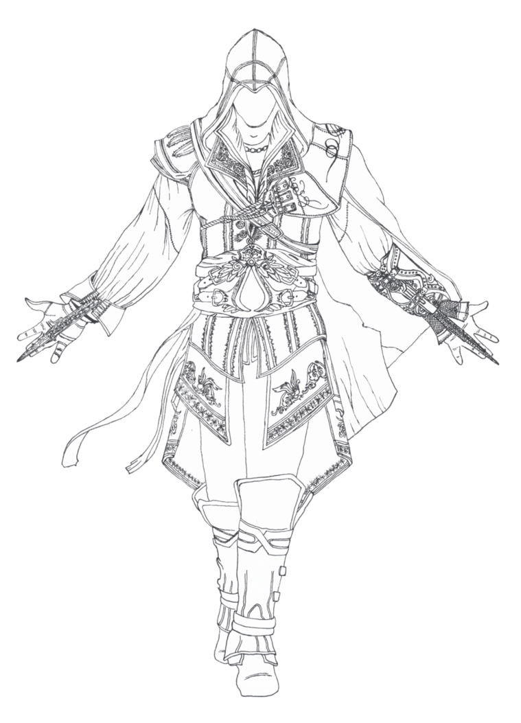 Costume drawing assassin. Creed ii lineart transparent
