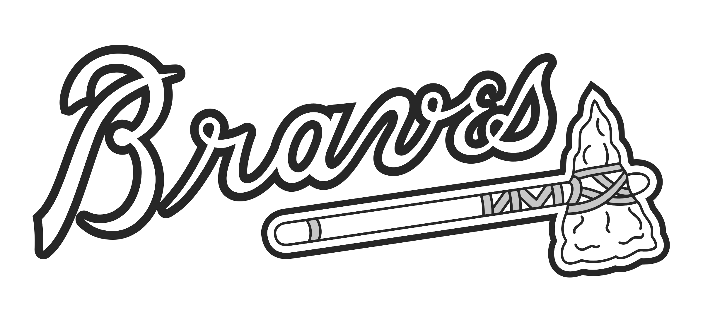 Atlanta drawing black and white. Braves mlb los angeles