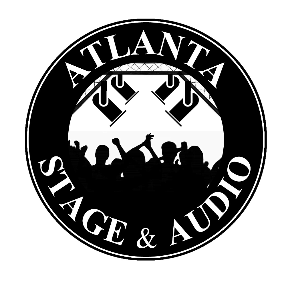 Mobile stage rental concert. Atlanta drawing emblem image royalty free