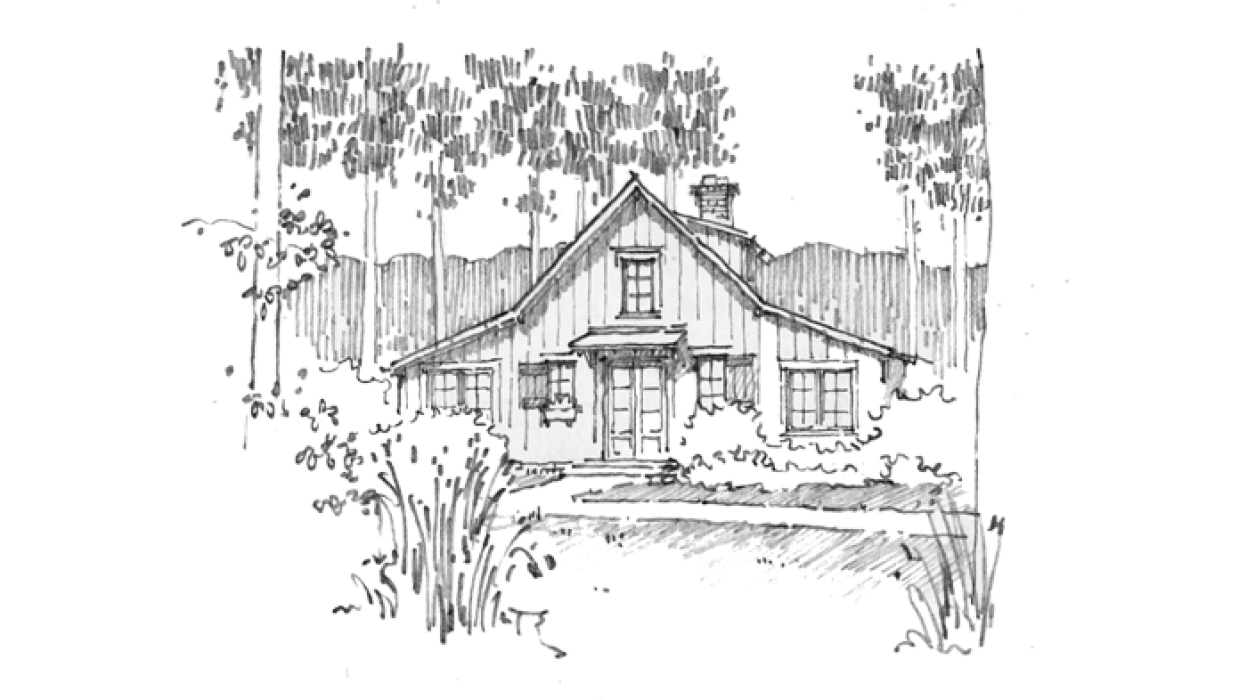 Drawing farmhouse sketch. Historical concepts pinterest