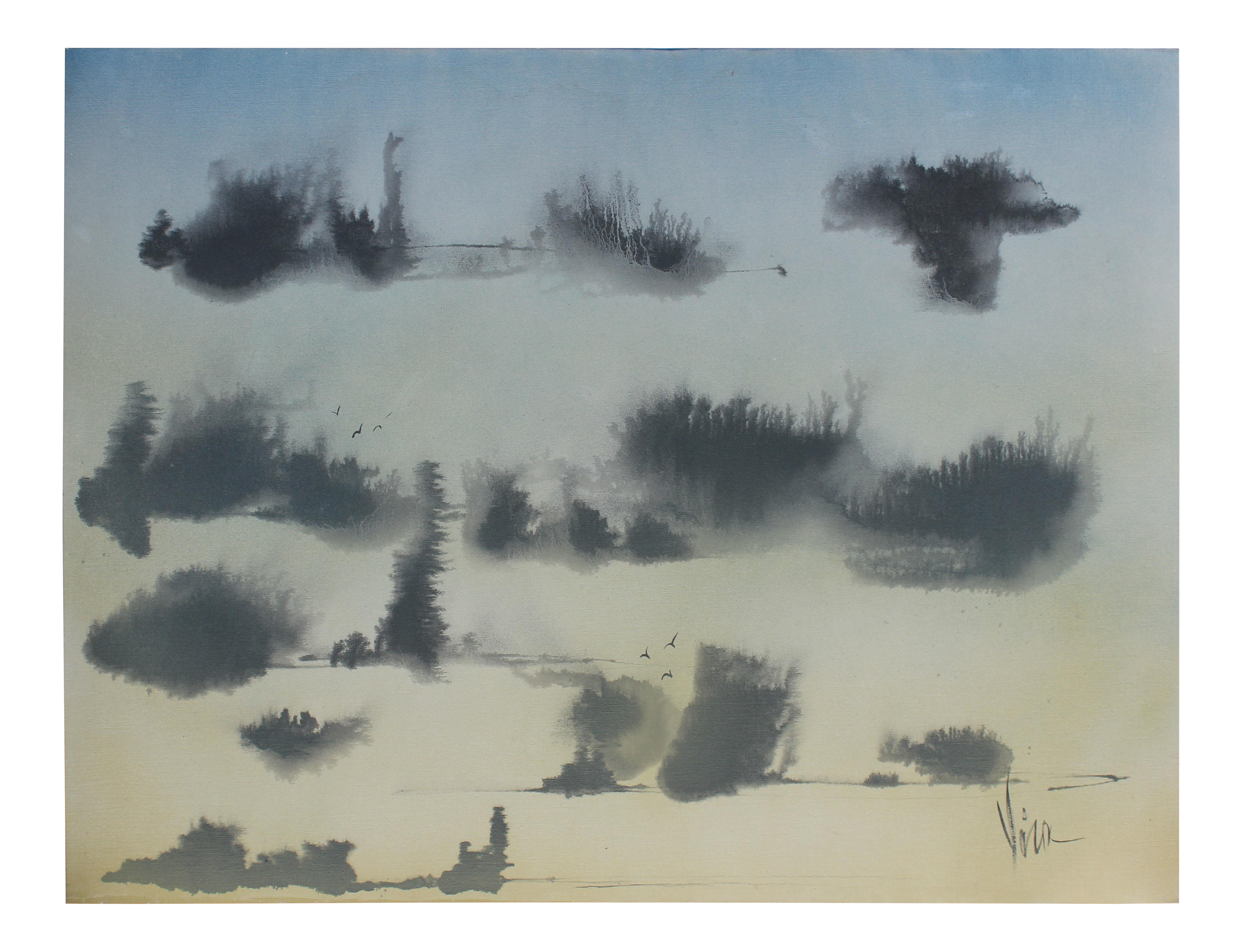 Atlanta drawing sky. Japanese landscape abstracted oil
