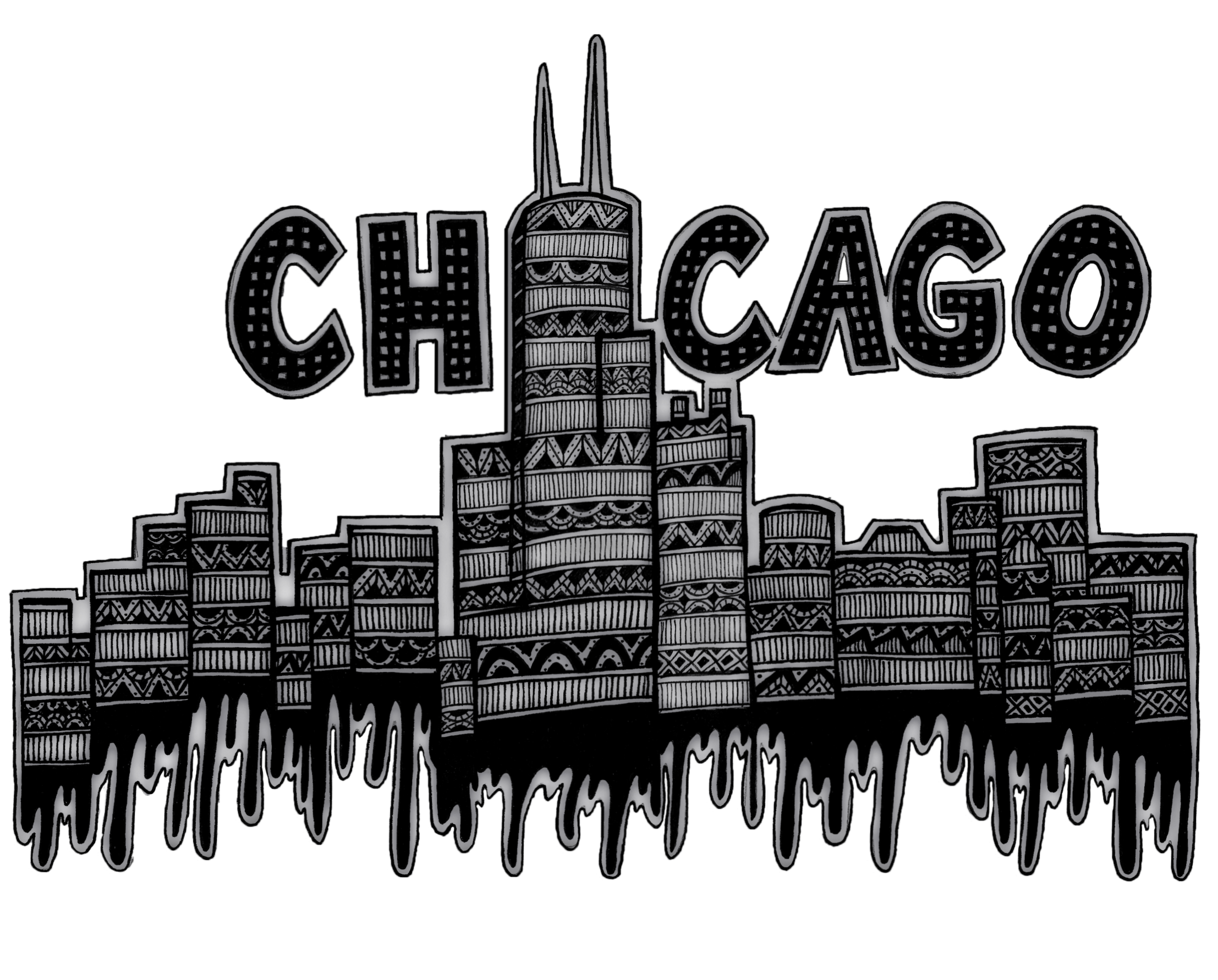 panorama drawing chicago downtown