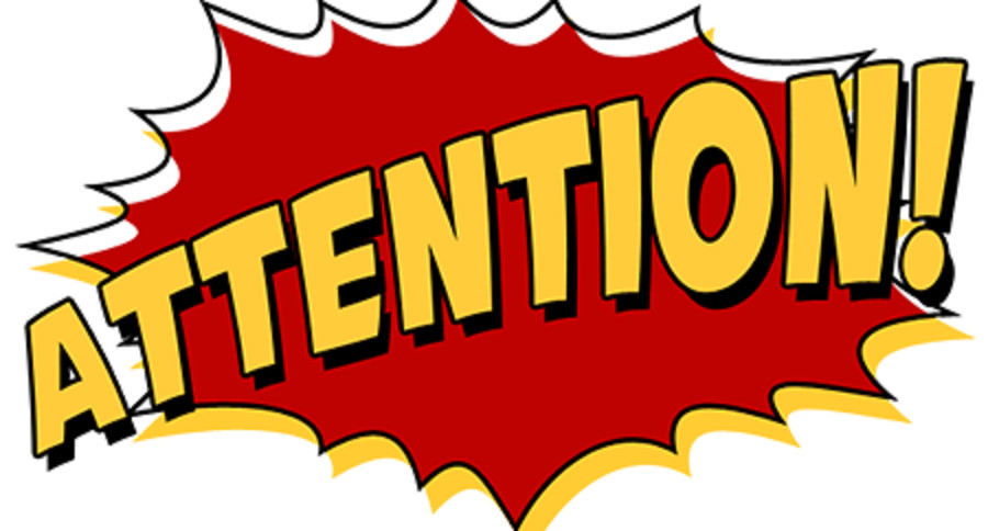 Attention clipart. Cartoon character sign vector