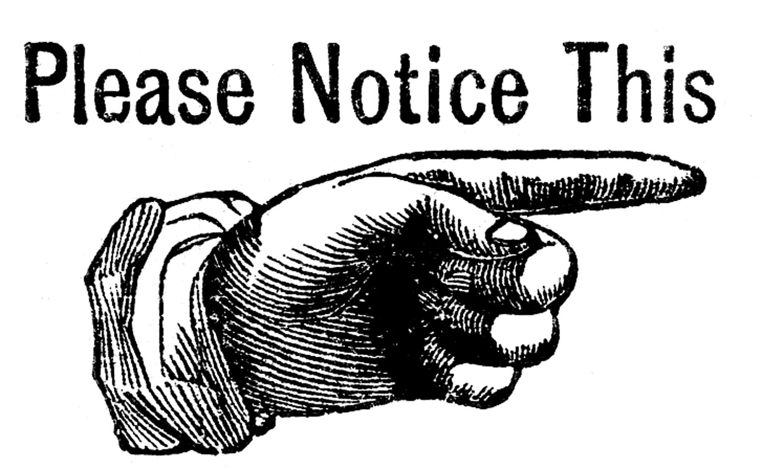 Attention clipart vintage. Clip art pointing hand