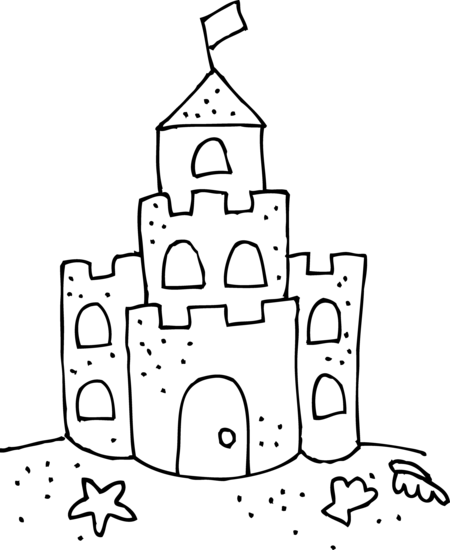 Sandcastle related keywords suggestions. Themes drawing jpg black and white