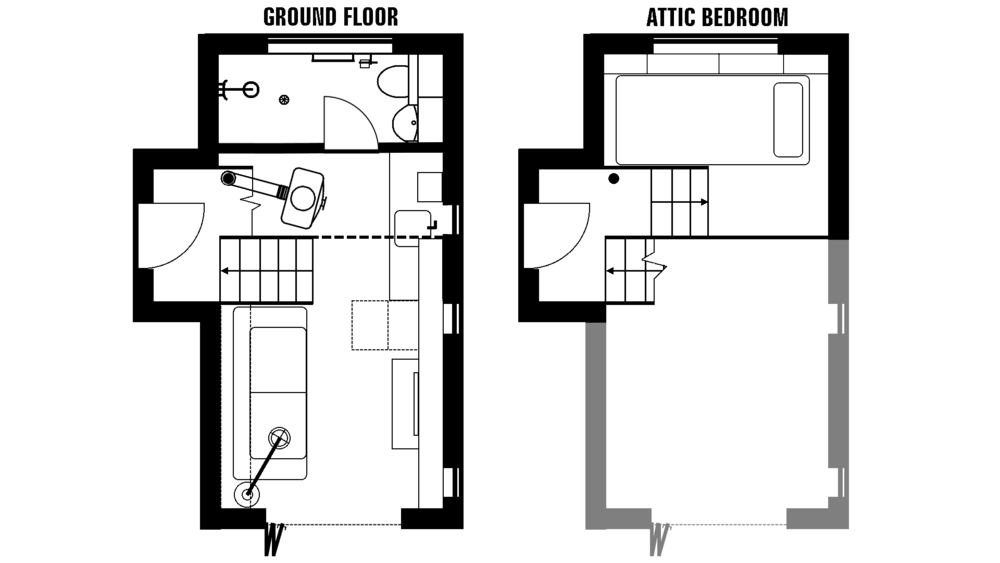 Attic drawing layout. A converted boathouse naust
