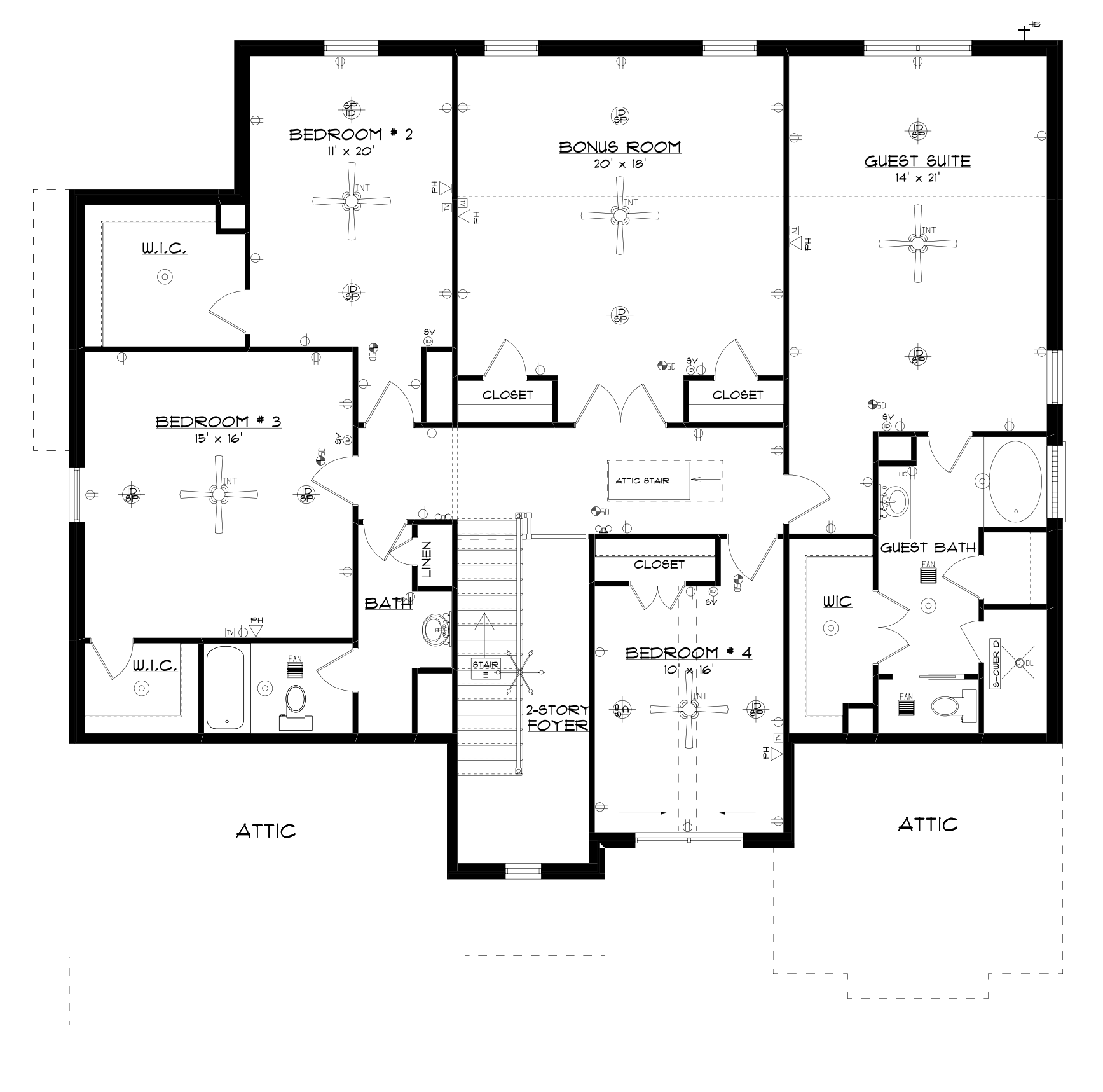 Attic drawing layout. Second floor stone martin