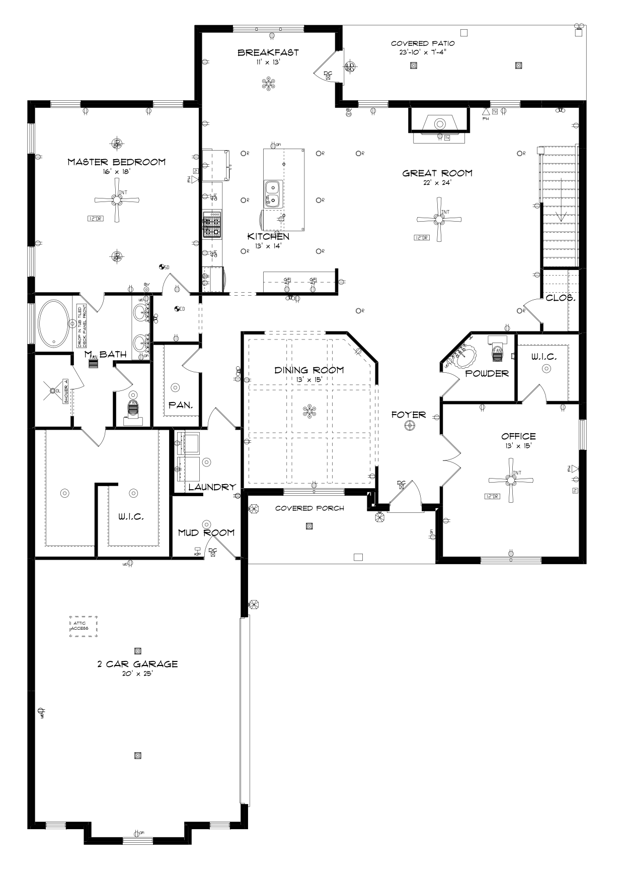 Attic drawing layout. Main floor stone martin