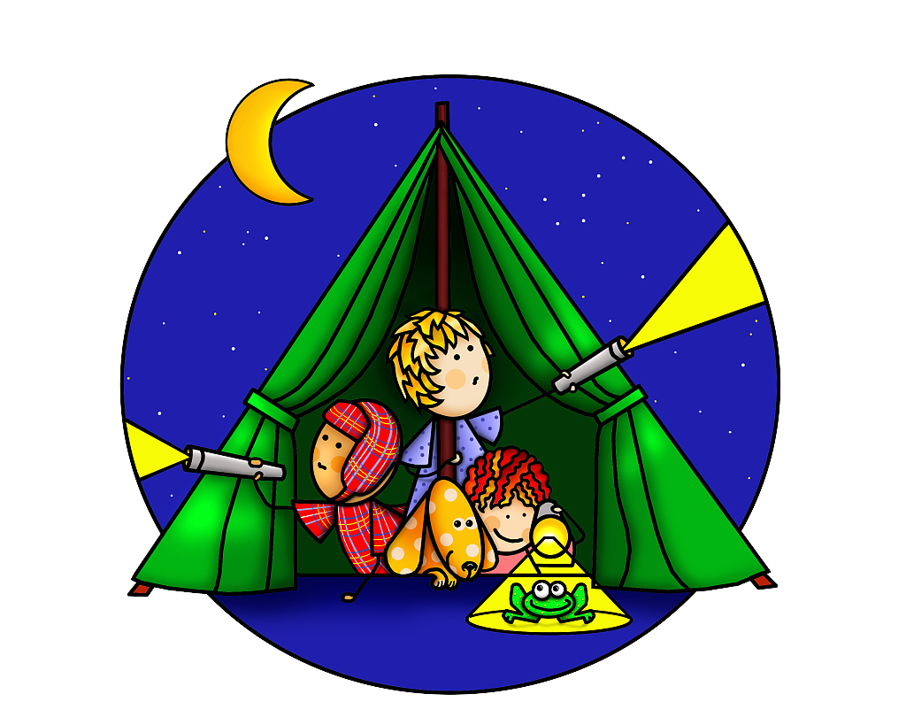 Scene drawing cartoon. Camping illustration a family
