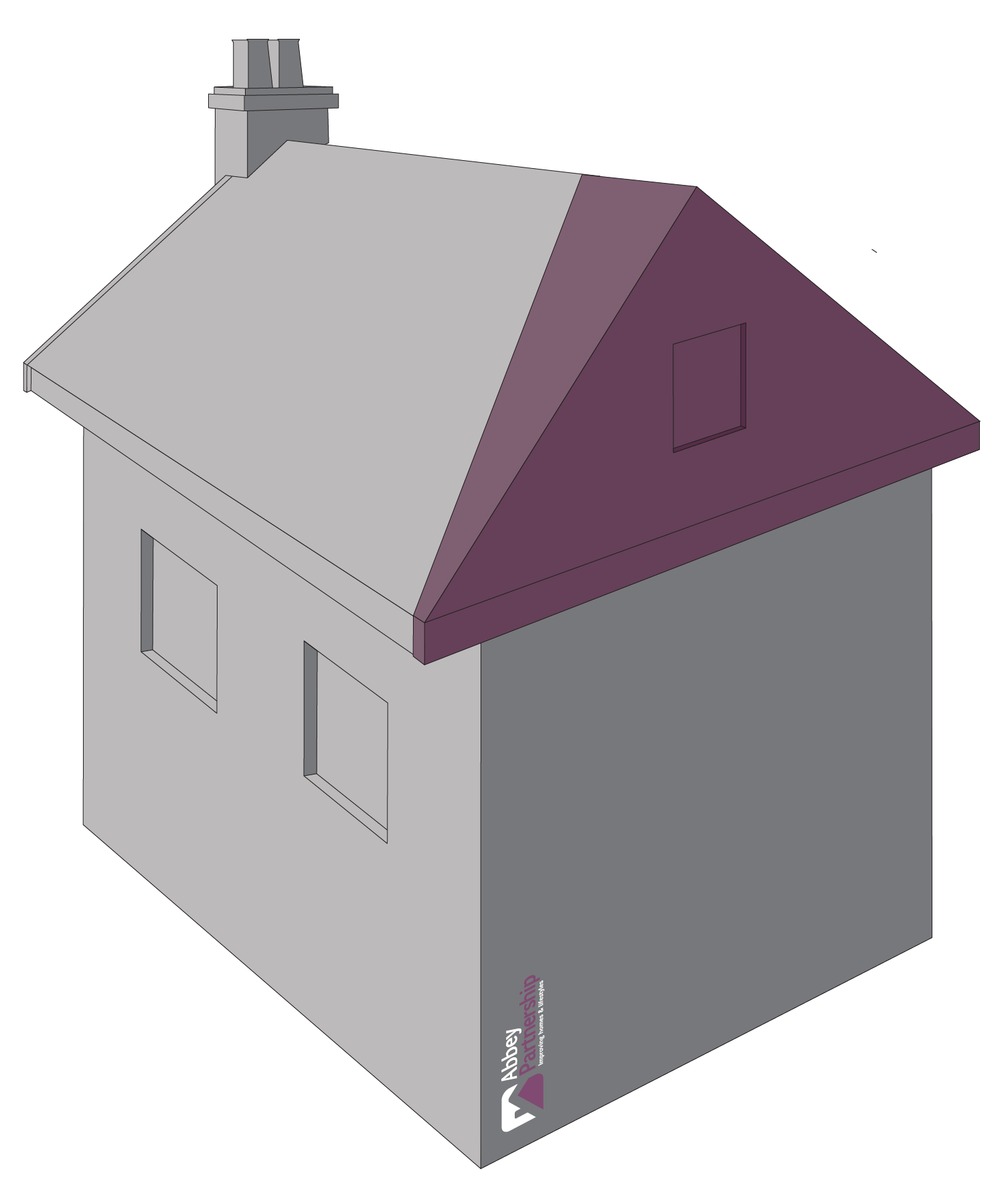 Attic drawing sloped roof. Hip to gable loft