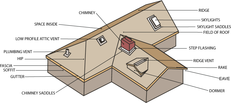 Attic drawing sloped roof. Glossery of roofing terms