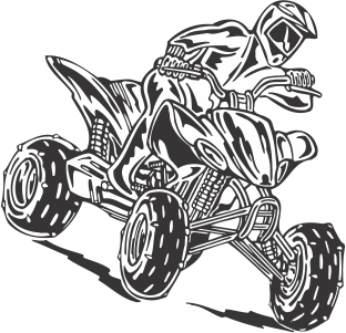 Atv drawing logo. Rider decal home cut