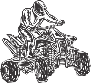 Atv drawing logo. Rider decal hotsigns and