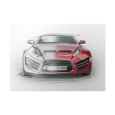 Audi drawing paper. Sketch of a sports
