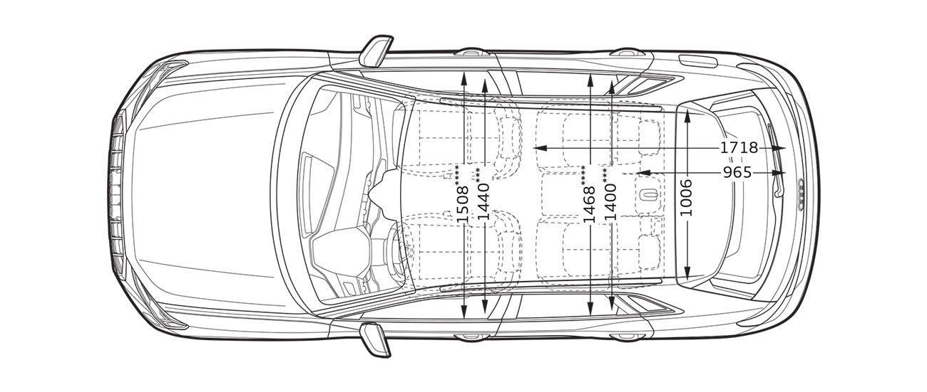 Audi drawing line. Top view sideview q