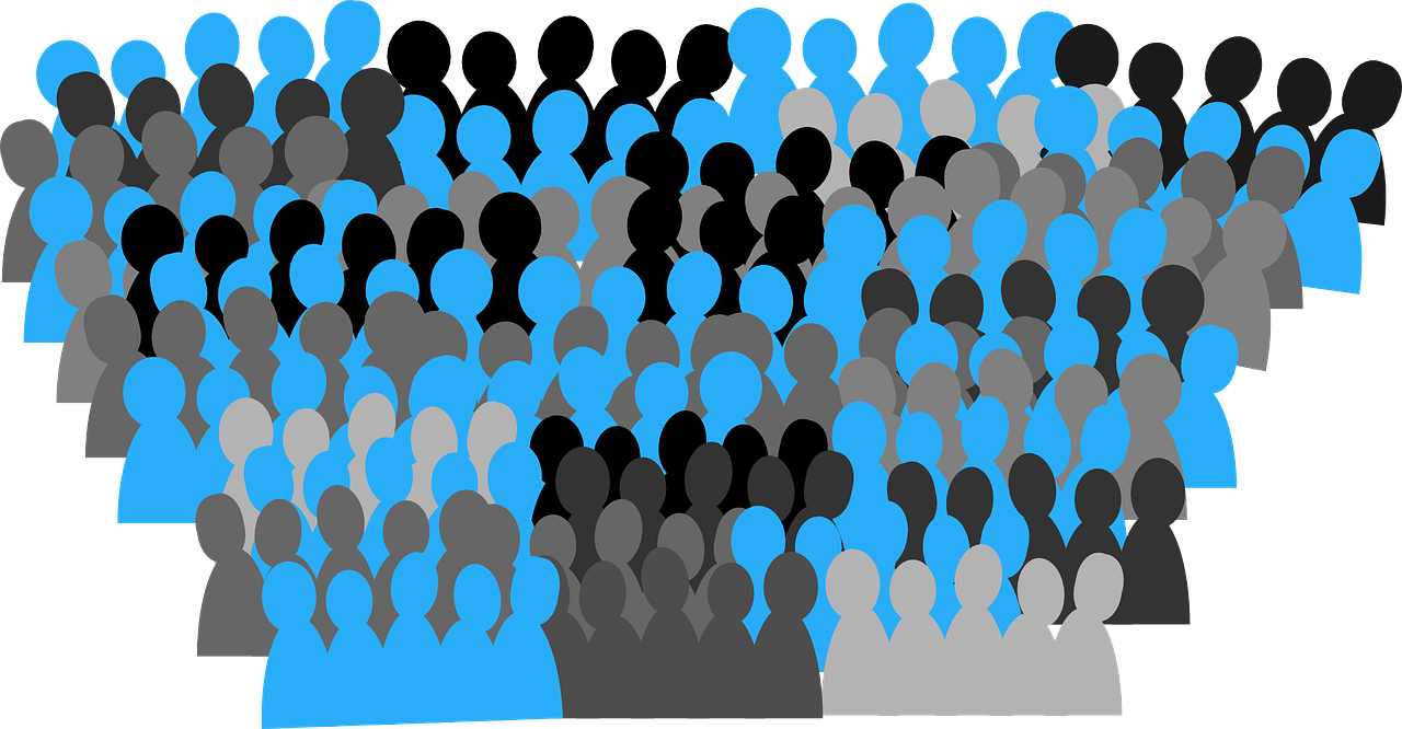 Audience drawing lot person. Population vector transparent