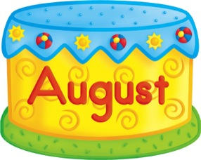 August clipart birthday cake.