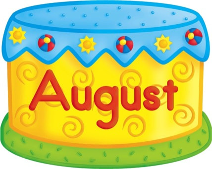 August clipart birthday cake. Readybaked picture