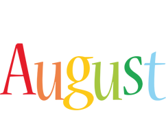 August clipart summer. Month names logo name